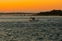 Fishing boat in at sunset