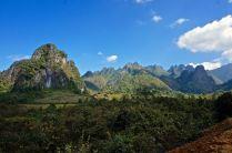 Northern Laos limestone mountains