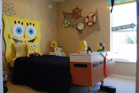 Awesome-Kids-Bedroom-Design-with-Sponge-Bob-Squarepants-Themed