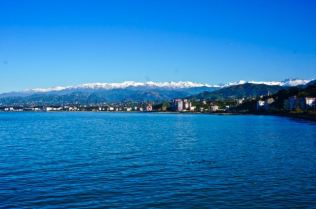 view over black sea in turkey blue water beautiful travel mountains snow