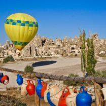 goreme turkey cappadocia hot-air balloon ride colors bright valley view